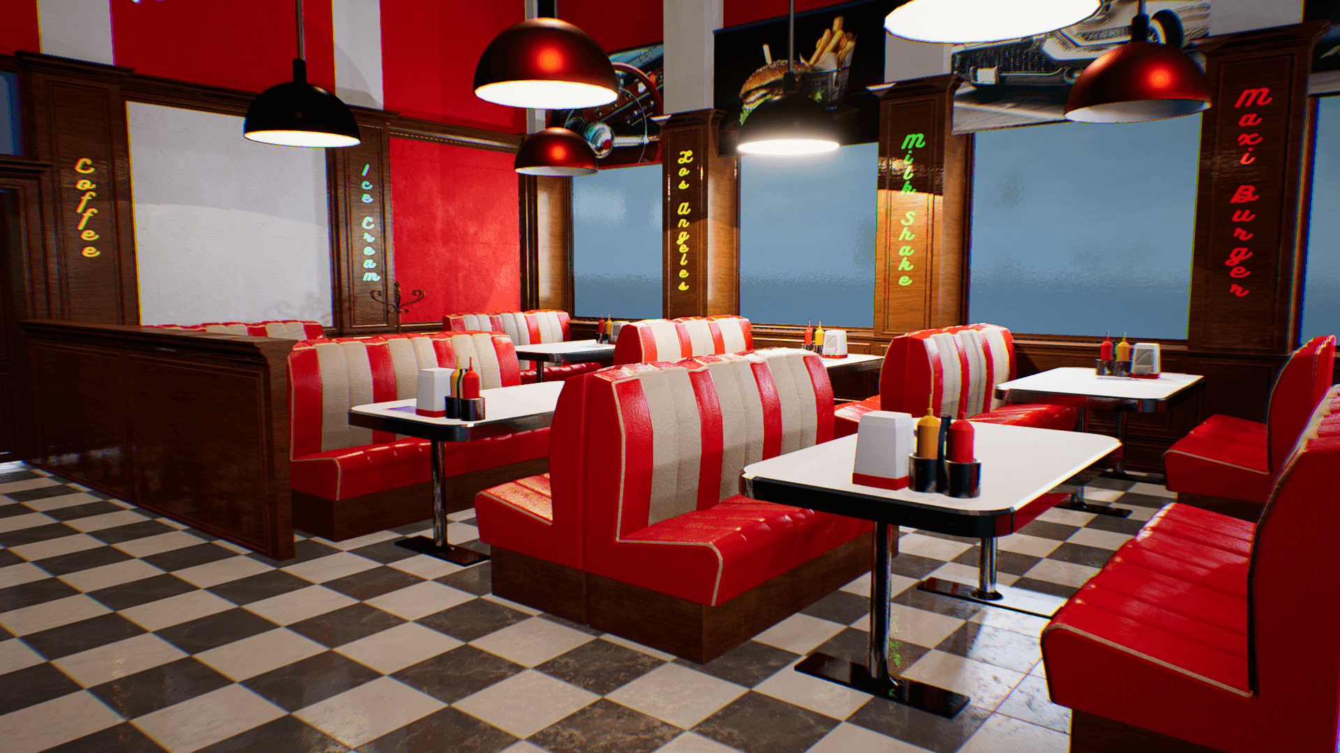 An image showing American Food Restaurant asset pack, created with Unreal Engine.