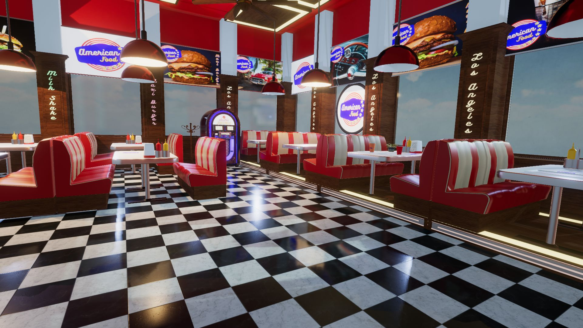 An image showing American Food Restaurant asset pack, created with Unity Engine.